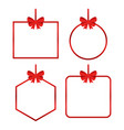 set beautiful cards with red gift bows vector image vector image