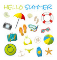 set of cartoon summer accessories vector image