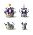 silver royal crowns 3d realistic set vector image vector image