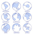 sketch earth map world hand drawn globe earth vector image