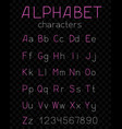 thin alphabet dark transparent background vector image