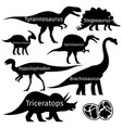 types of dinosaurus silhouettes isolated on vector image vector image