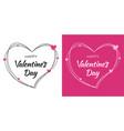 valentines day card design set heart pink frame vector image vector image