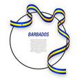 waving ribbon flag barbados on circle frame