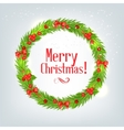wreath fir branches with christmas holly vector image vector image