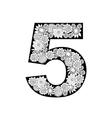 Hand drawn floral alphabet design Digit 5 vector image