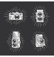 Retro photo cameras set Hand drawn vintage vector image
