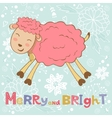 2015 card with cute funny sheep vector image vector image