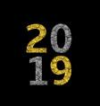 2019 broken golden numbers vector image vector image