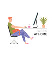 a man working at home with cat vector image vector image