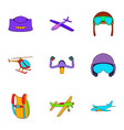 aircraft icons set cartoon style vector image vector image