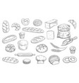 bakery and pastry shop products sketch vector image vector image
