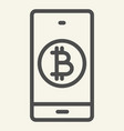 bitcoin digital wallet line icon bitcoin mobile vector image vector image