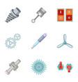 car parts icons set cartoon style vector image vector image