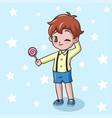 cartoon little boy holding lollipop candy vector image vector image