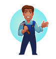 cartoon worker proffessional man for your mascot vector image