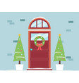 christmas holiday doorway with decoration fir vector image vector image