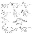coloring book set ten different dinosaurs vector image vector image