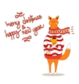 Cute fox christmas holiday greeting card vector image vector image