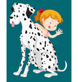 Cute girl with pet dog vector image vector image