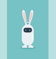 cute robot wearing bunny ears mask in flat style vector image vector image