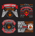 drink quote set coffee quote and saying set bundle vector image