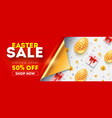 easter sale get up to 50 percent discount banner vector image vector image