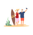 elderly summer vacation grandparent selfie vector image vector image