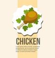 fresh chicken leg and delicious salad healthy food vector image
