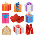 gift box mockup set realistic style vector image vector image