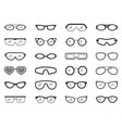 glasses sun eye frame silhouette icon set vector image