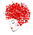 Hairstyle with hearts vector image vector image