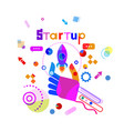 hand holding space ship business startup vector image vector image