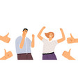 happy people and thumb up vector image vector image