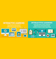 interactive learning banner set flat style vector image vector image