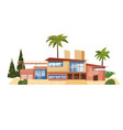 modern villa on residence expensive mansion palm vector image
