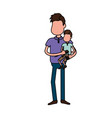 nice father carrying his son in the hands vector image