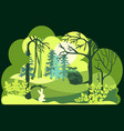paper art cut and craft style green forest vector image