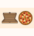 pizza and cardboard open empty box set vector image