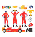 race driver set flat isolated vector image