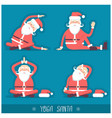 santa claus doing yoga isolated christmas card vector image vector image