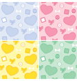 Set backgrounds whit hearts and patches vector image vector image