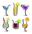 set of cocktails soft and long-drinks vector image vector image