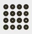 set of different black silhouettes of circular saw vector image