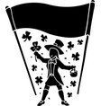 silhouette of leprechaun with clover and banner vector image