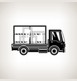 silhouette truck with glass on light background vector image