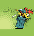 stop alcohol beer bottle flies into the garbage vector image vector image