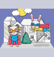 superhero animals cartoons vector image