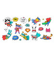 superhero cute hand drawn animals vector image