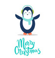 sweet penguin in soft earpieces and warm scarf vector image vector image